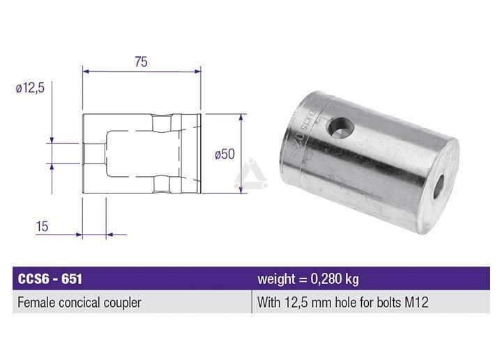 PLCCS6651 Female Conical Coupler, Hole M12