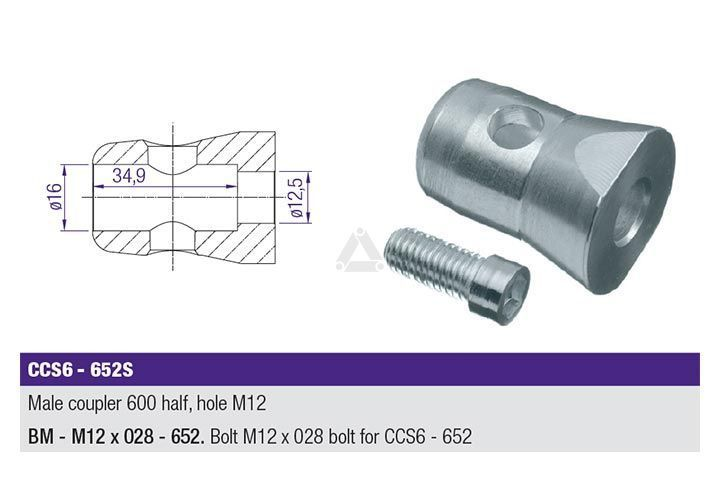 PLCCS6652S Male Coupler 600 Half, Hole M12